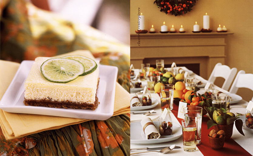 Williams Sonoma Key Lime Pie and Martha Stewart Weddings Lemon and Lime Centerpiece and Table Setting