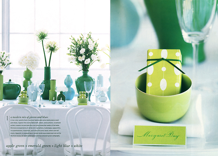 Martha Stewart Weddings Green and Blue Tablesetting and Centerpiece and Martha Stewart Weddings Party and Wedding Favor